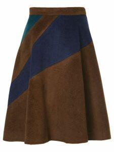 Loveless A-line stripe panel skirt - Brown