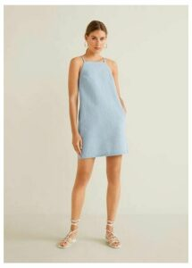 Halter neck denim dress