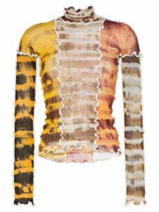 Asai sheer tie-dye stretch top - Brown