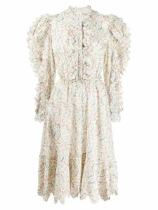 Horror Vacui floral flared midi dress - White