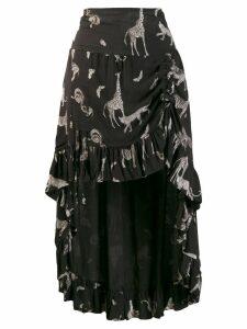 SO ALLURE giraffe print high low skirt - Black