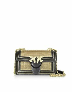 Pinko Designer Handbags, Mini Love Metal Mesh and Leather Shoulder Bag