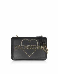 Love Moschino Designer Handbags, Signature Golden Studs Black Leather Shoulder Bag
