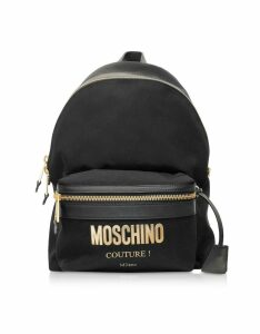 Moschino Designer Handbags, Black Nylon Signature Backpack