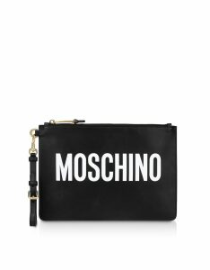 Moschino Designer Handbags, Black Leather Signature Flat Clutch