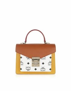 MCM Designer Handbags, Patricia Visetos Leather Block Small Satchel