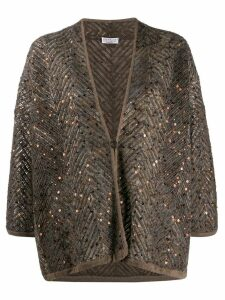 Brunello Cucinelli chevron knit cardigan - Brown