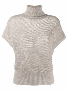 Brunello Cucinelli roll neck knitted top - Grey