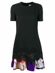 Emilio Pucci Embroidered Dress With Printed Ruffle Hem - Black