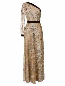 Talbot Runhof embroidered tulle dress - Neutrals