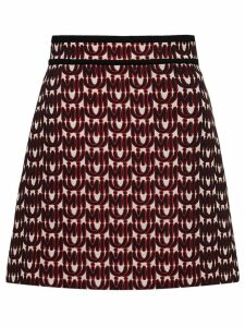 Miu Miu jacquard skirt with logo print - Red