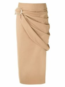 Framed midi draped skirt - Neutrals
