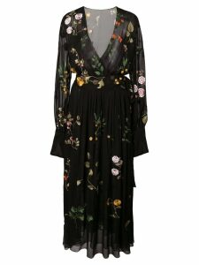 Oscar de la Renta embroidered floral wrap dress - Black