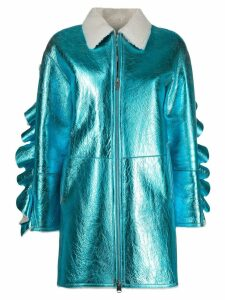 Liska zipped metallic coat - Blue