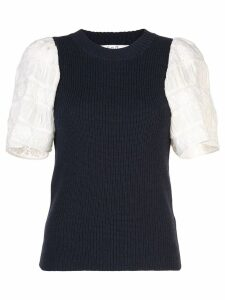 Sea contrasting sleeve knitted top - Blue