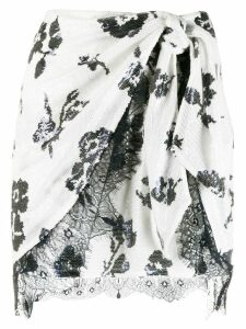 Self-Portrait sequin wrap skirt - White