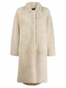 Liska oversized shearling coat - Neutrals
