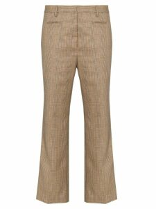 R13 checked cropped trousers - Brown