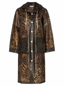 Ganni tiger print hooded rain coat - Brown