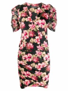 SO ALLURE fitted floral print dress - Black