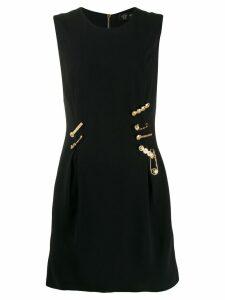 Versace logo pin embellished dress - Black
