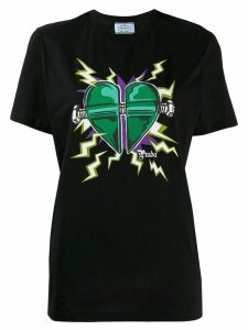 Prada heart print T-shirt - Black