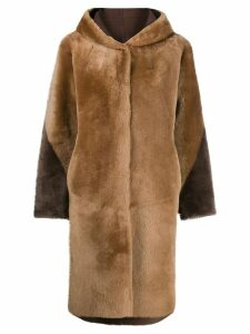 Liska hooded single-breasted coat - Neutrals