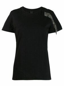 Pinko rhinestone fringe T-shirt - Black