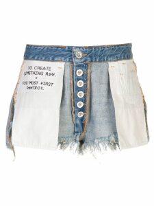 Unravel Project destroyed denim shorts - Blue