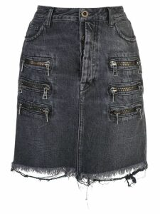 Unravel Project zip-detail distressed denim skirt - Black