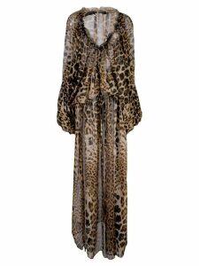 Saint Laurent leopard print flared dress - Brown