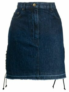 McQ Alexander McQueen drawstrings denim skirt - Blue