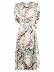 3.1 Phillip Lim printed ruched midi dress - White