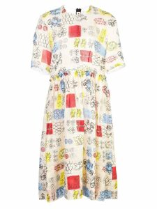 Marni printed flared dress - Neutrals