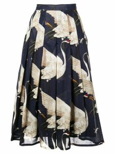 Samantha Sung Zeller crane print pleated skirt - Blue