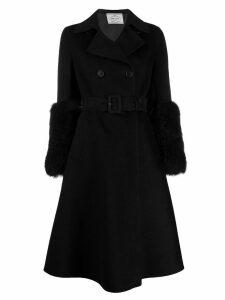 Prada a-line belted coat - Black