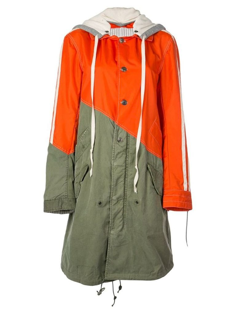Greg Lauren hybrid hooded coat - Orange
