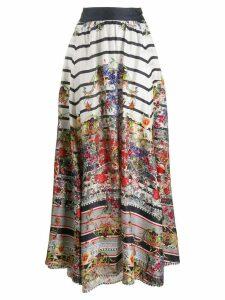 Camilla floral print full hem skirt - White