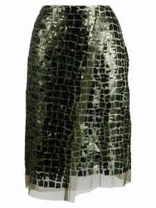 Dorothee Schumacher sequin embroidered tulle skirt - Green