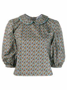 Batsheva floral cropped blouse - Blue