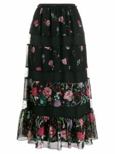 Red Valentino RED(V) Cherry Blossom print midi skirt - Black