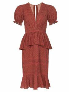 Johanna Ortiz Dandyism broderie-anglaise dress - Red