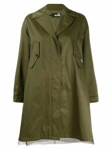 Love Moschino mesh detail parka coat - Green