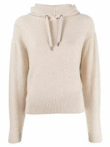 Brunello Cucinelli sequin knit hoodie - Neutrals