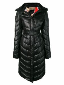 Emilio Pucci Fur Collar Quilted Coat - Black
