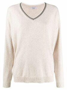 Brunello Cucinelli knit glitter V-neck sweater - Neutrals