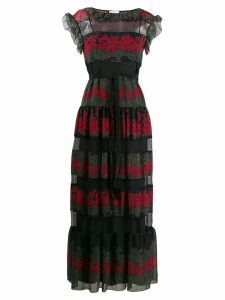 Red Valentino floral print panelled maxi dress - Black
