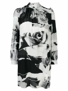 Alexander McQueen Torn Rose print dress - Black