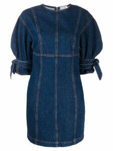 Attico tie-cuff denim dress - Blue