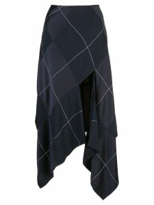 Monse satin panelled plaid skirt - Blue